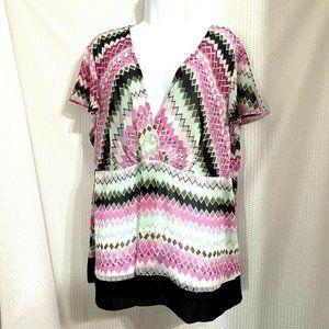 Lane Bryant Womens Pink Black Top Blouse Size 22